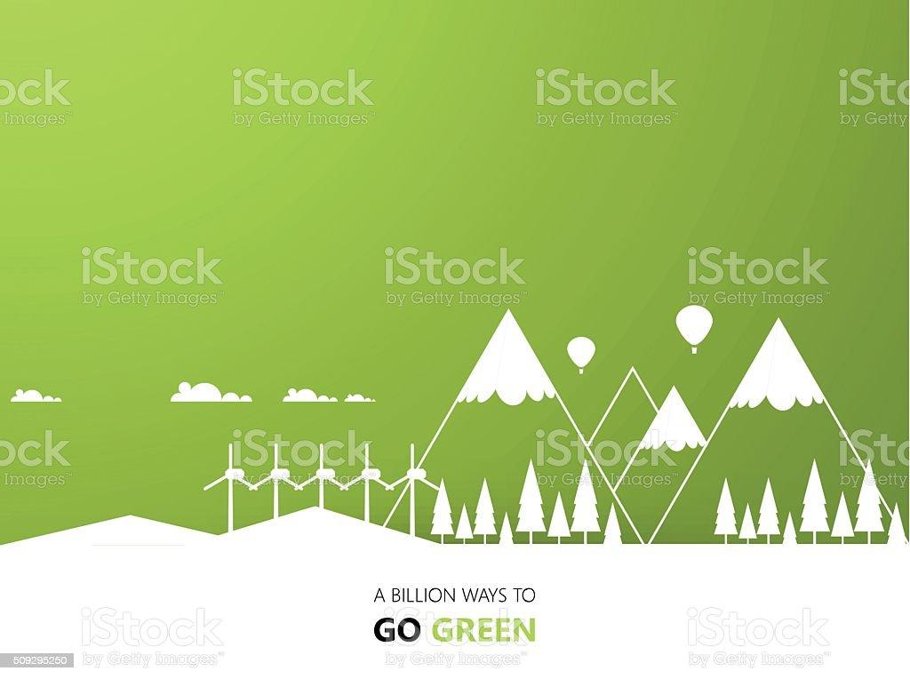 Green Eco Landsape Background Design vector art illustration