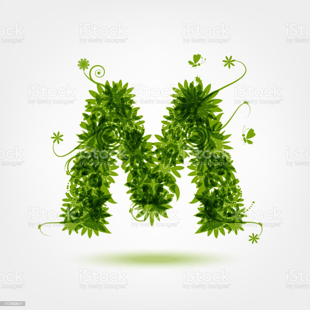 Green eco letter M for your design royalty-free stock vector art
