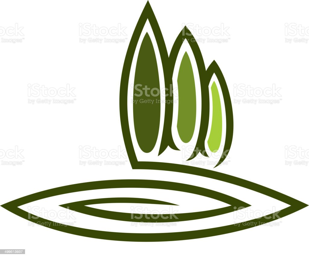 Green eco symbol with tall cypresses vector art illustration