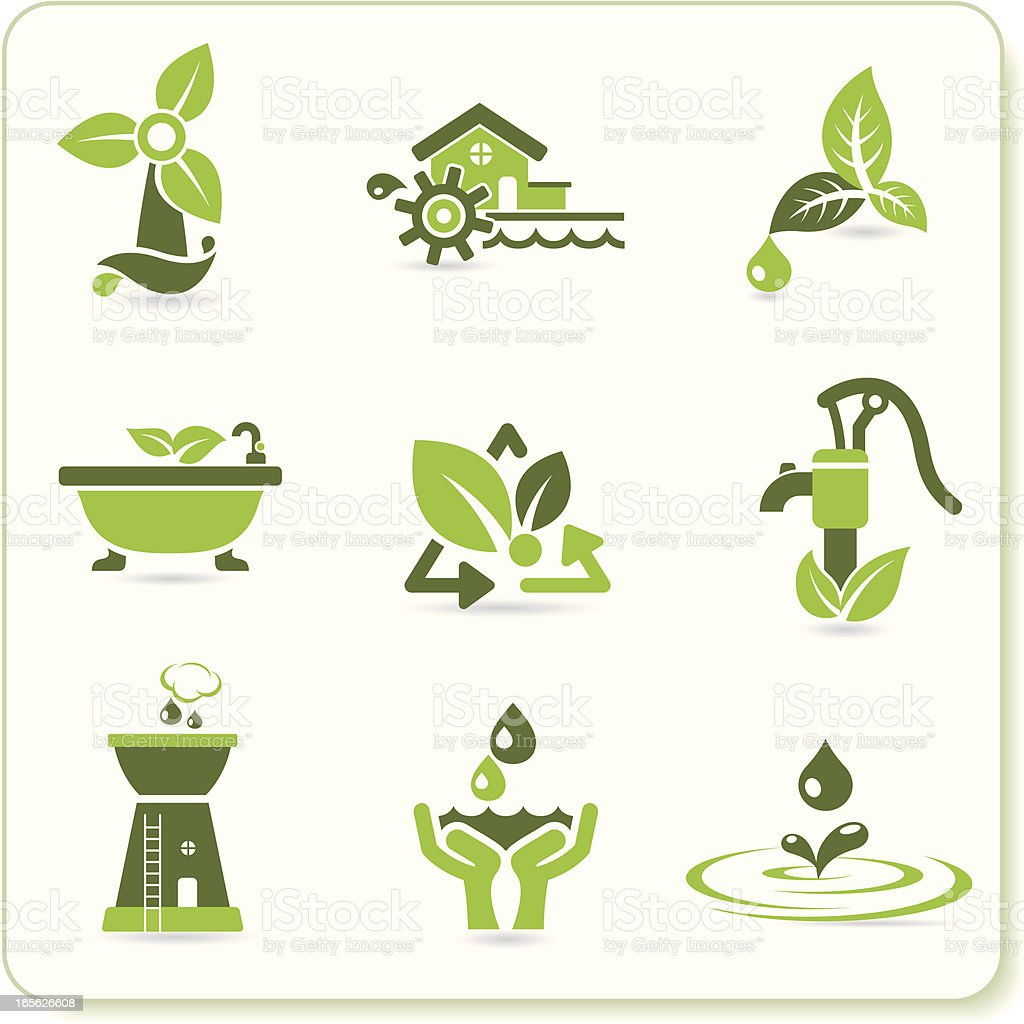 Green Eco Symbols vector art illustration
