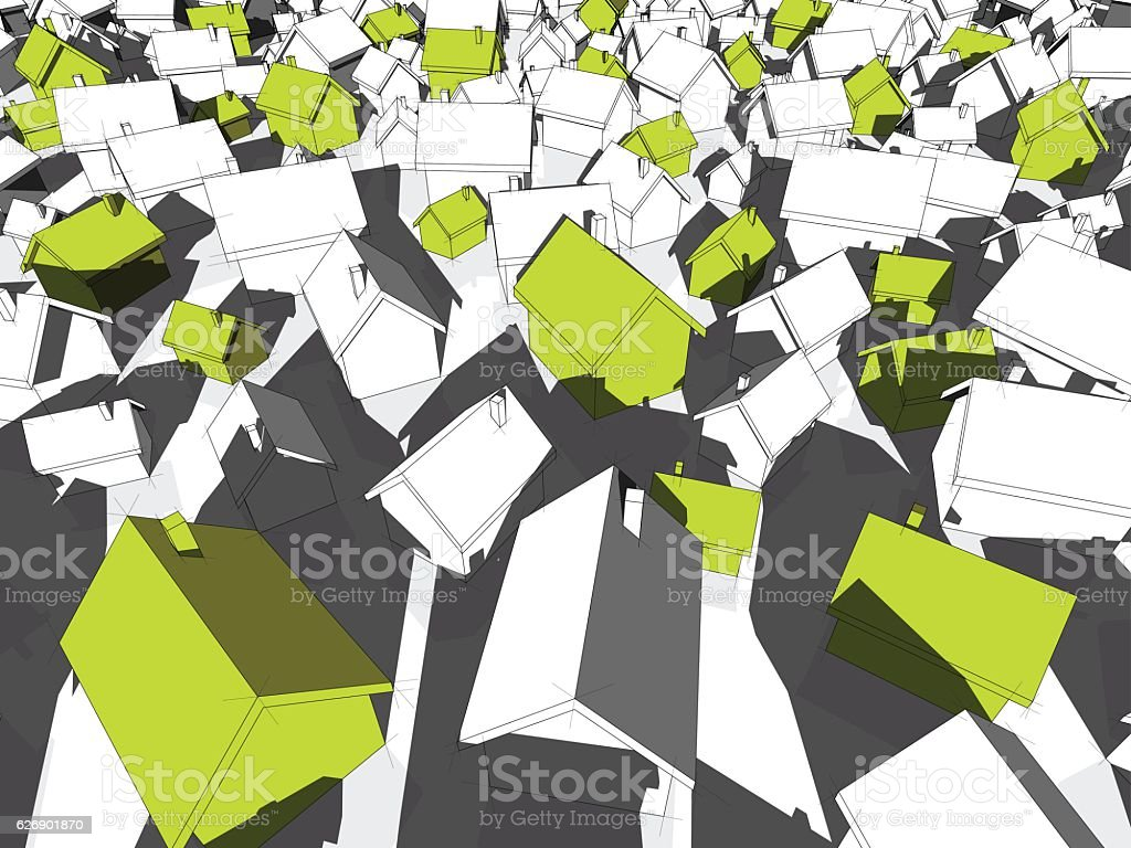 green ecological houses standing out from others vector art illustration