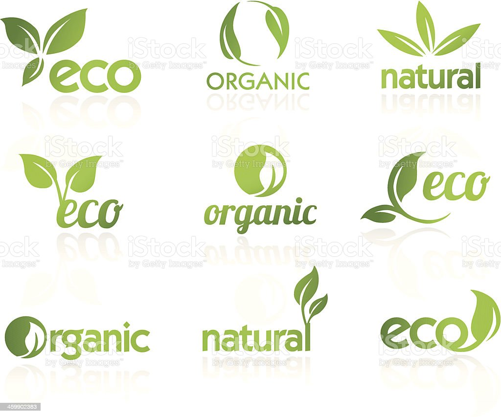Green ecological icons vector art illustration
