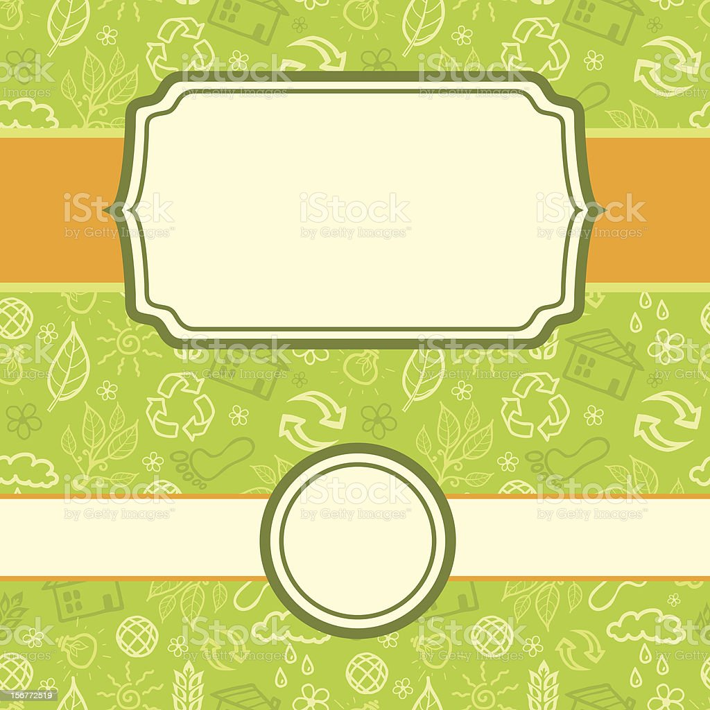 Green Ecological Seamless Pattern And Frames Set royalty-free stock vector art