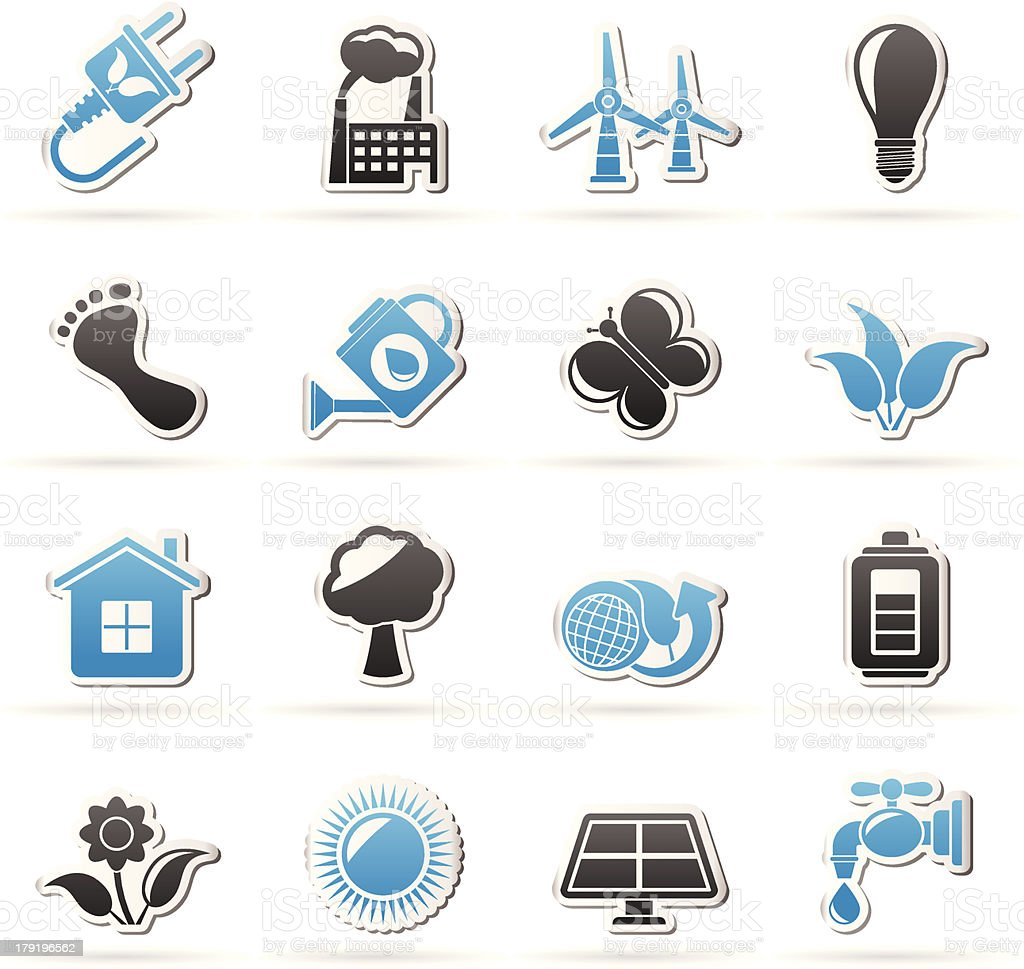 Green, Ecology and environment icons royalty-free stock vector art