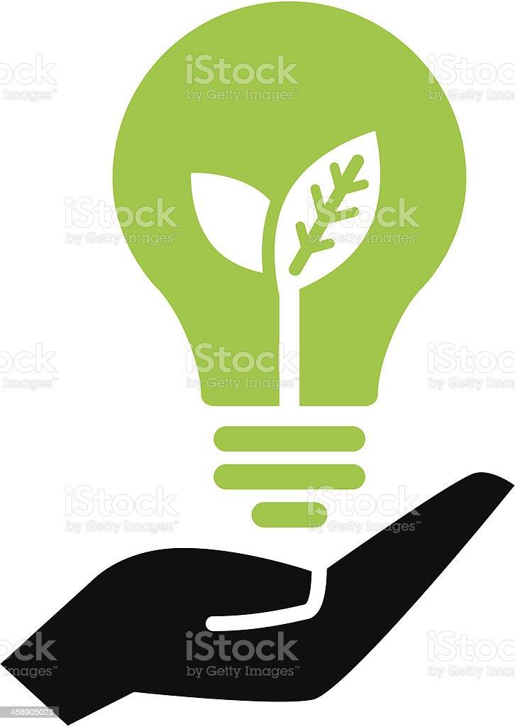 Green ecology bulb on hand vector art illustration