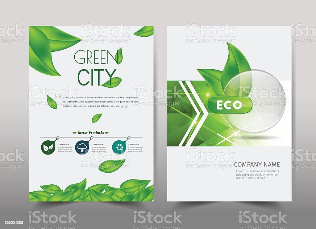 Green ecology design on background vector art illustration