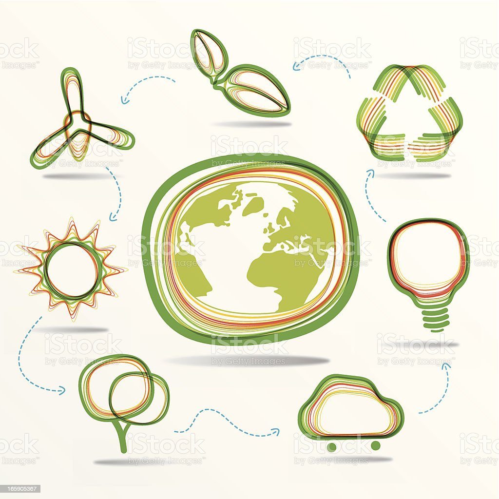 green ecology icon set royalty-free stock vector art