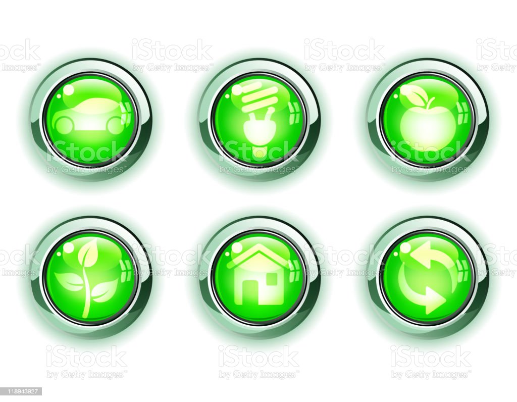 green ecology icons royalty-free stock vector art