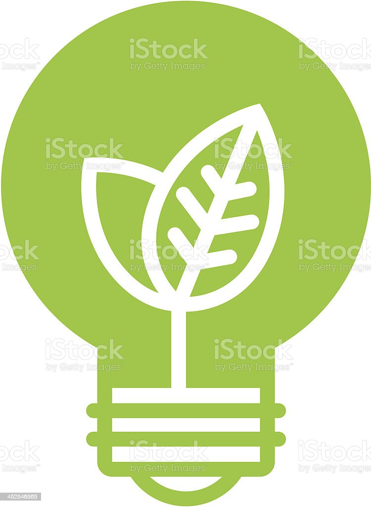 Green ecology light bulb icon vector art illustration