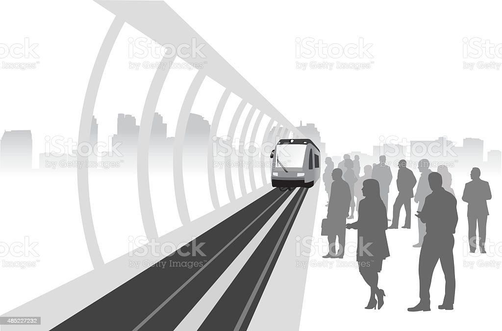 Green Economic Trains vector art illustration