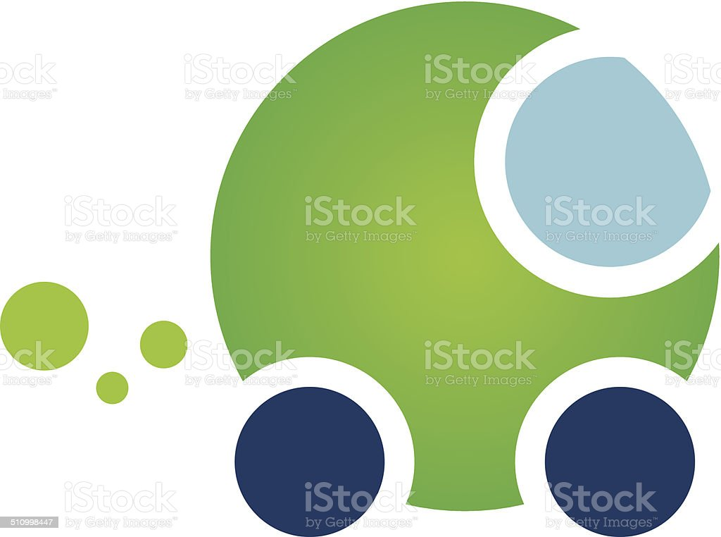 Green efficiency powered eco car nature fuel energy logo icon vector art illustration