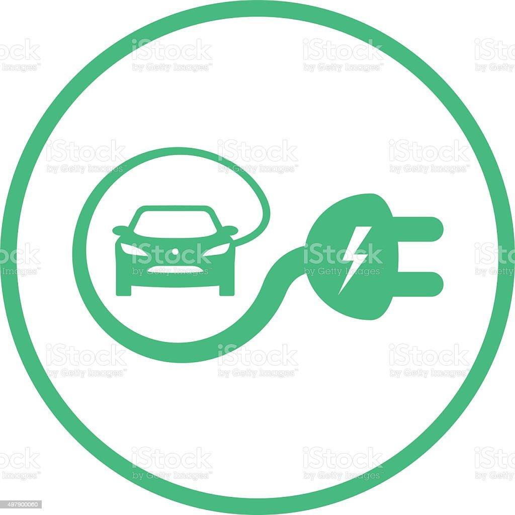 Green Electric Car Sign vector art illustration