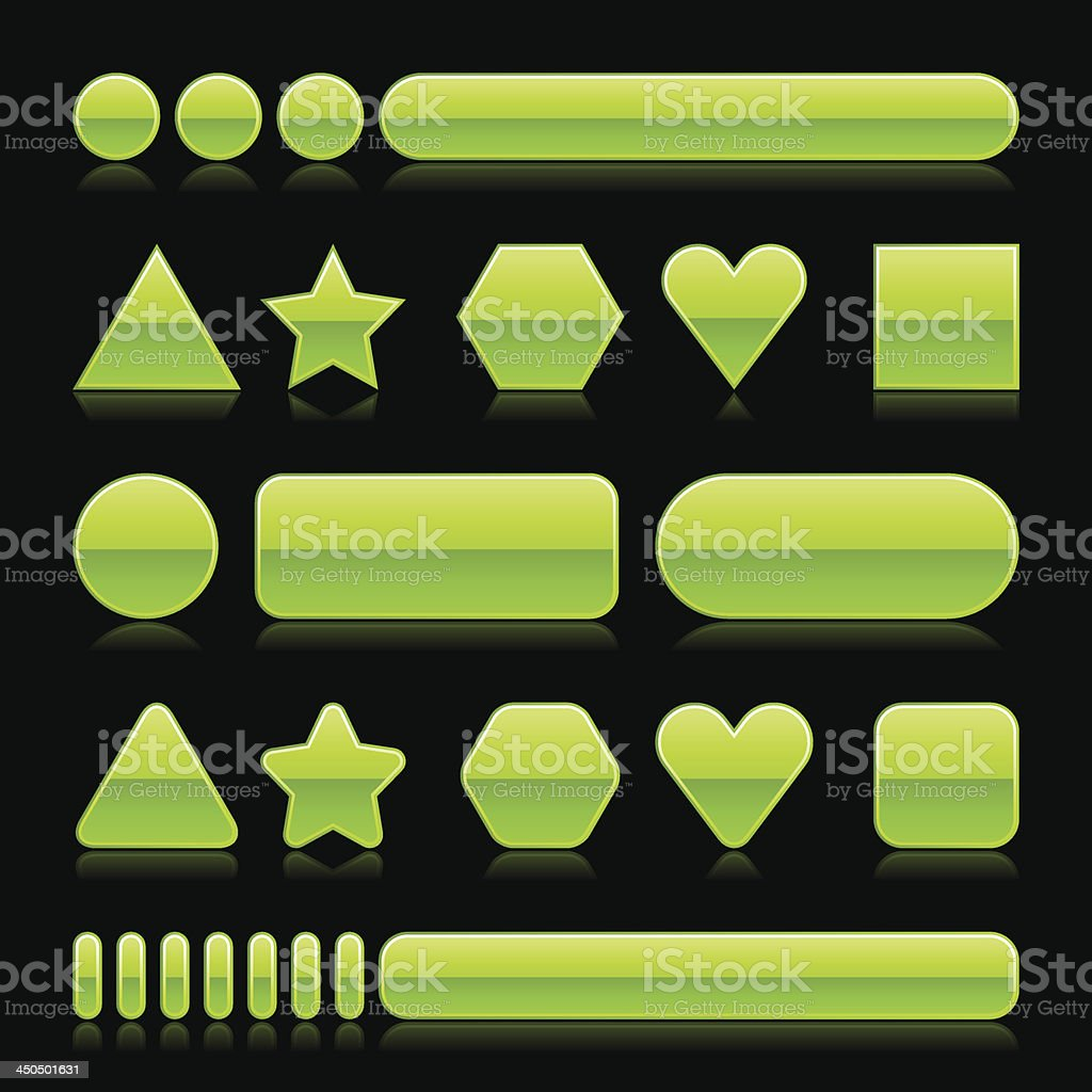 Green empty glossy icon blank internet button royalty-free stock vector art
