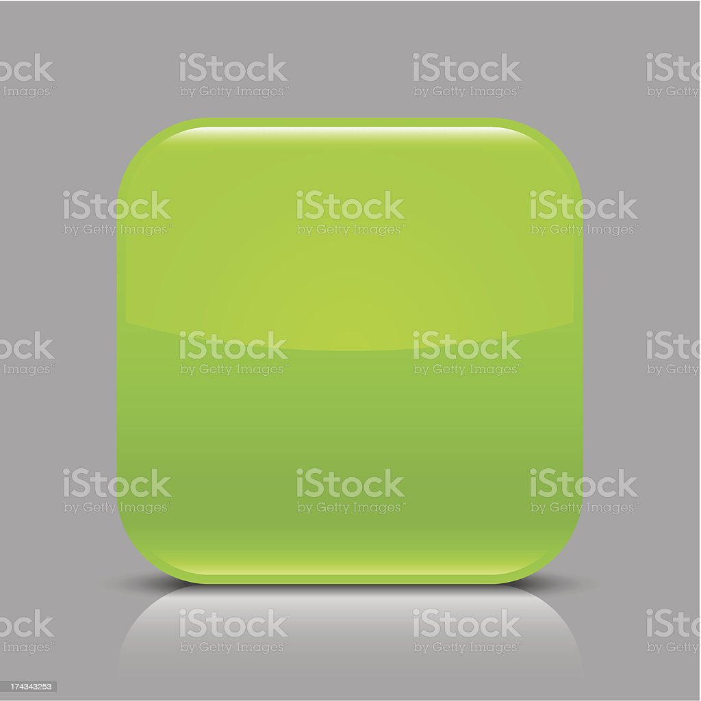 Green empty glossy icon blank rounded square web button royalty-free stock vector art