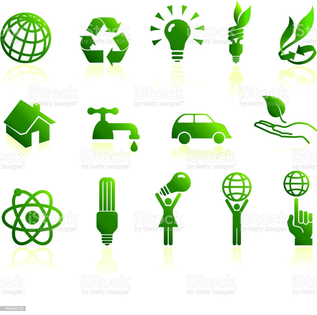 Green energy and conservation royalty free vector icon set royalty-free stock vector art
