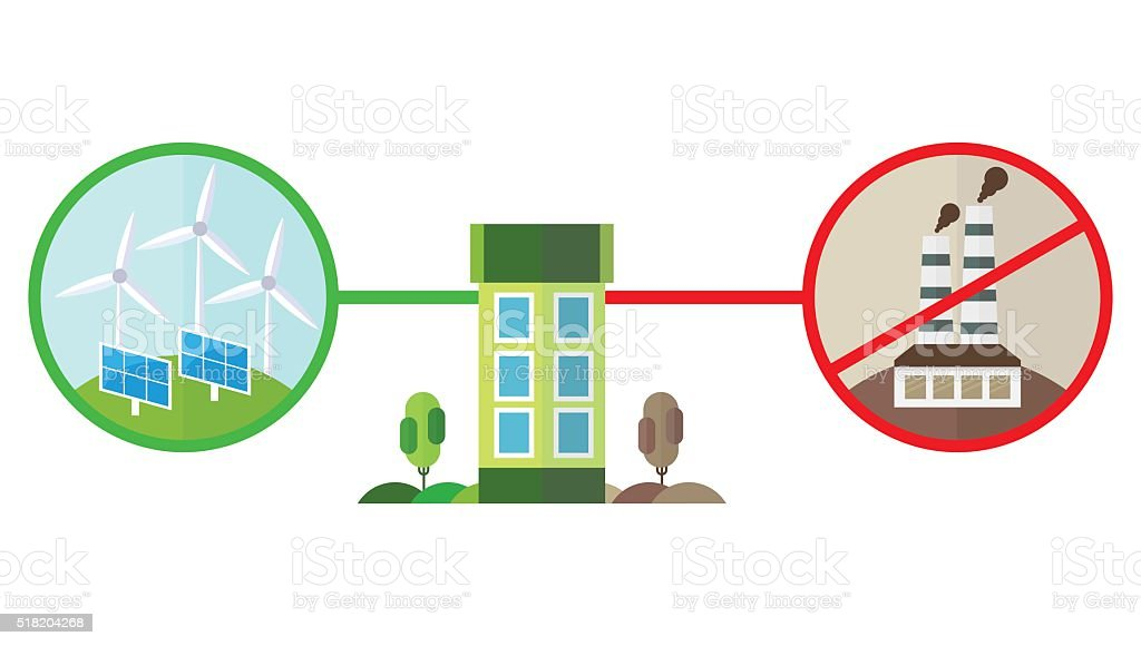 green energy and pollution for house vector art illustration