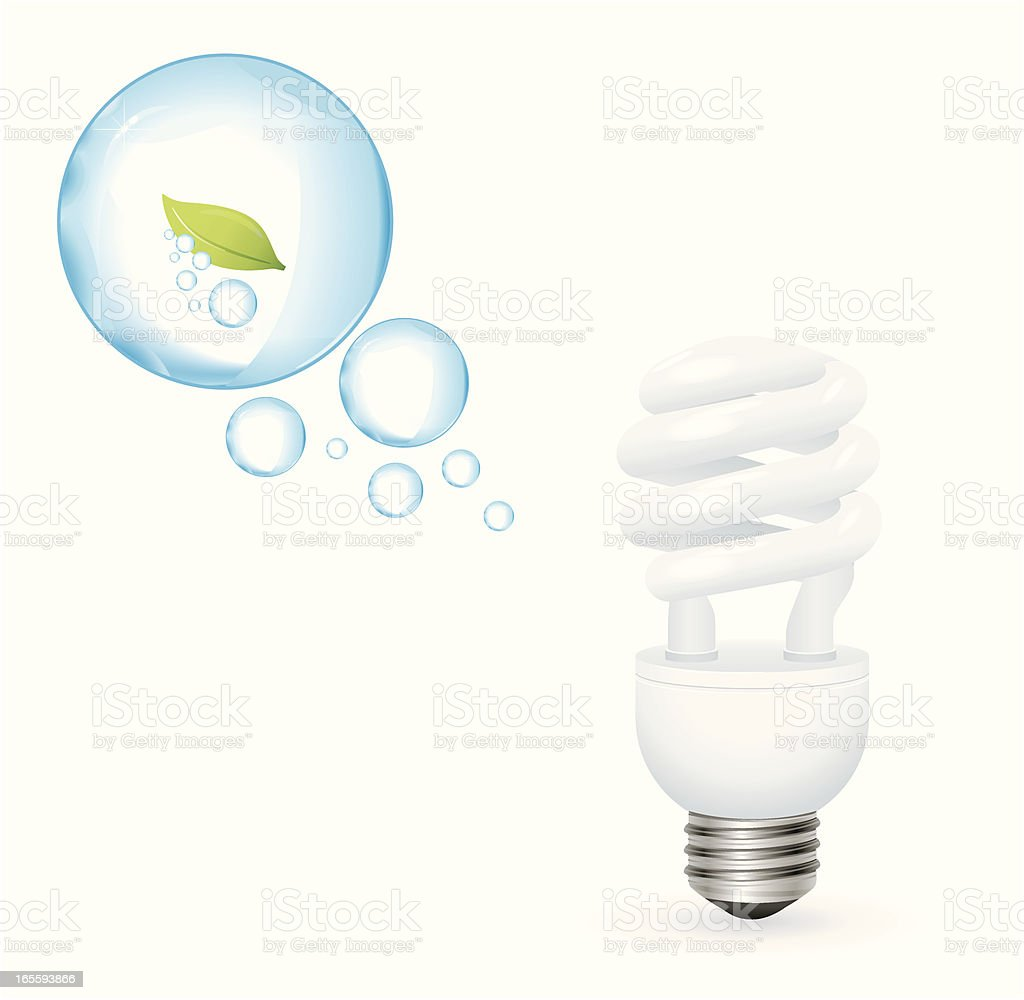 Green Energy - Compact Fluorescent Light Bulb With Oxygen Bubbles royalty-free stock vector art