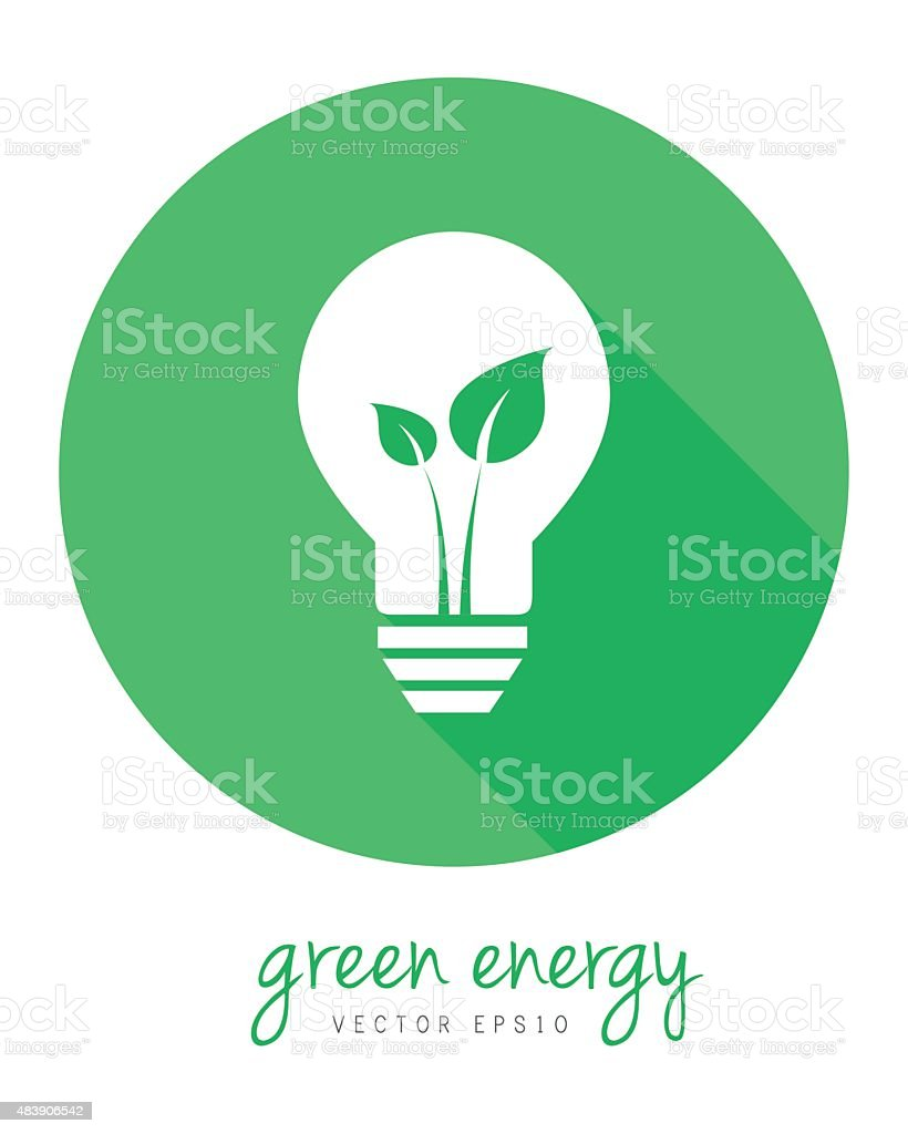 Green energy concept with leaf and lightbulb vector art illustration