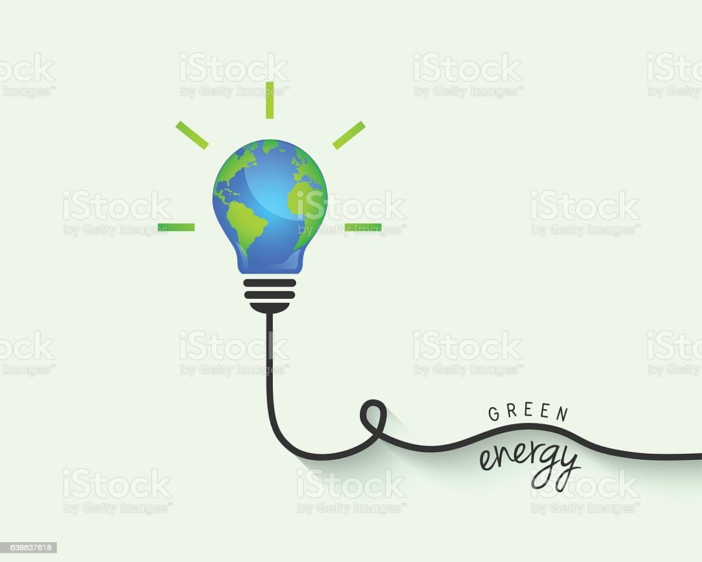 Green energy concept with light bulb made of Earth vector art illustration
