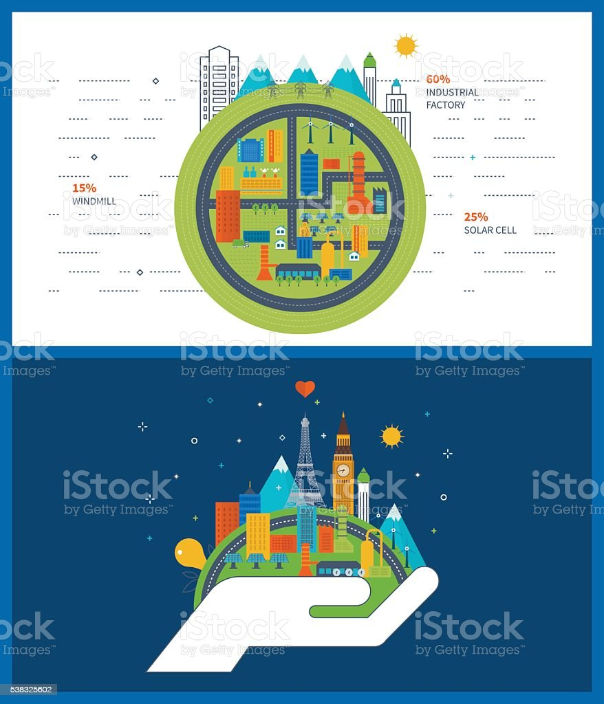 Green energy, ecology, eco, urban landscape and industrial factory buildings vector art illustration