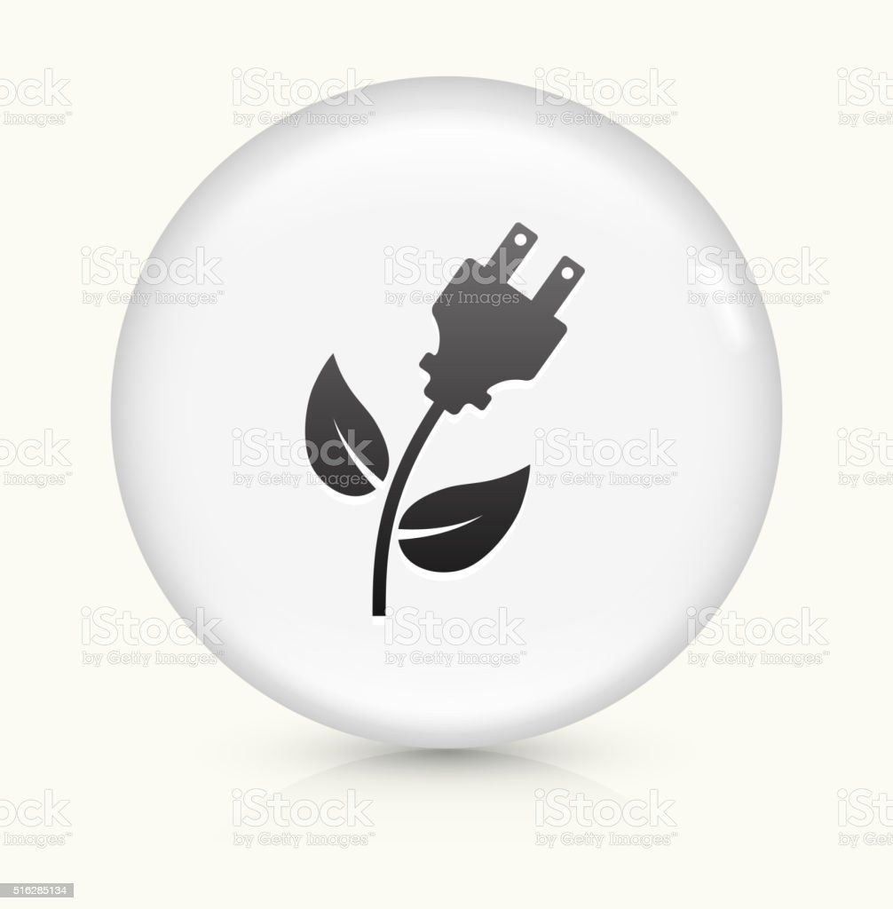 Green Energy Electric Plug icon on white round vector button vector art illustration