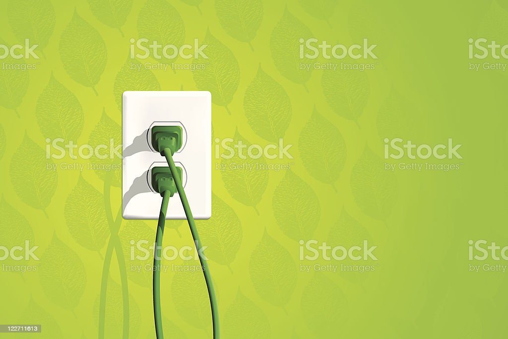 Green Energy Electrical Outlet vector art illustration