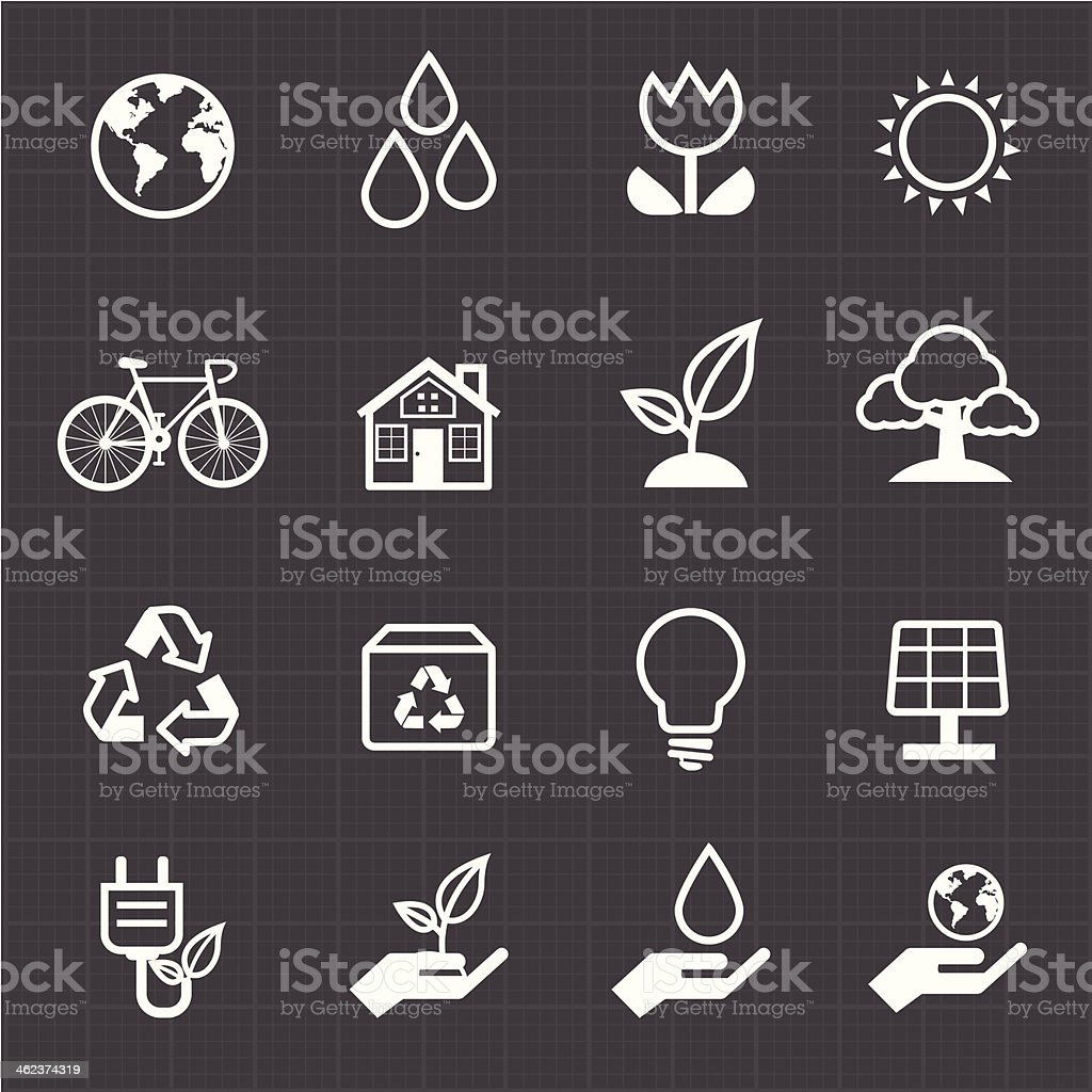 Green energy icon and black background vector art illustration
