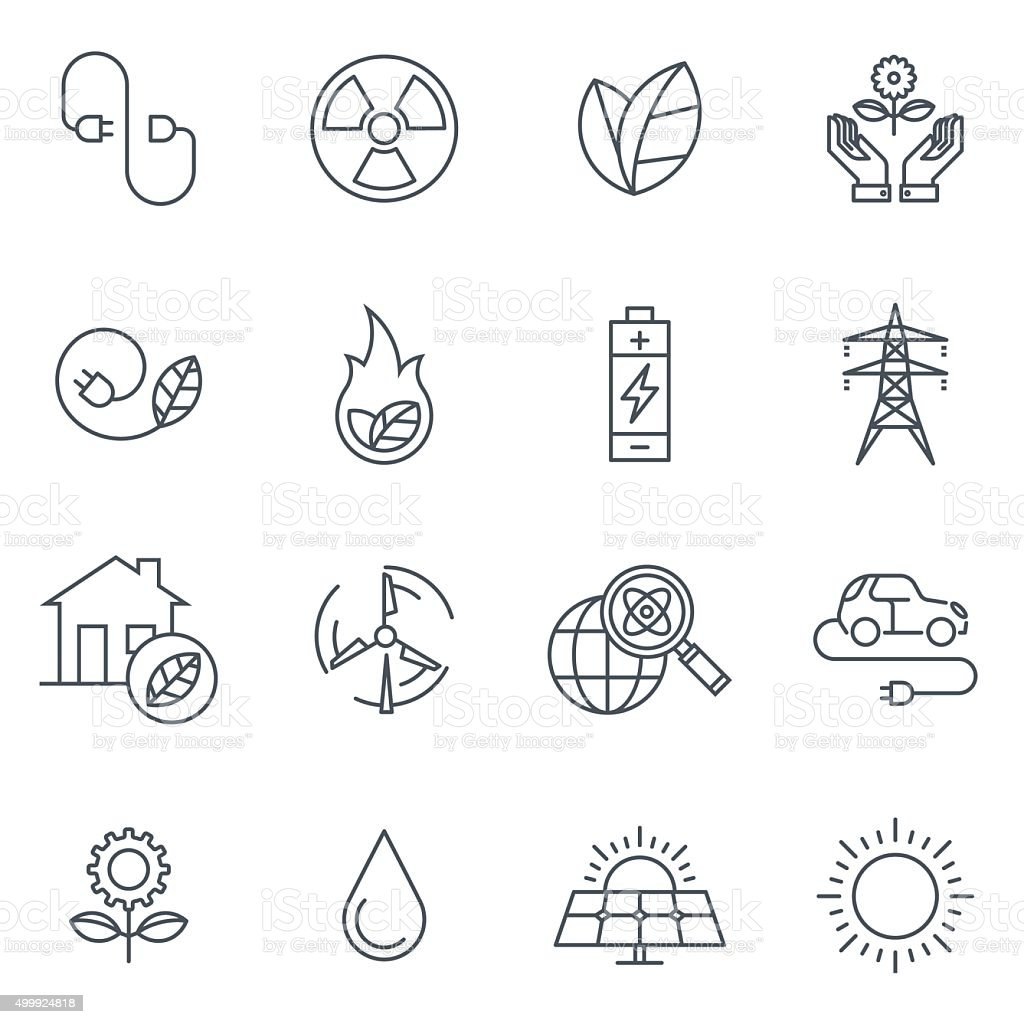 Green energy icon set vector art illustration