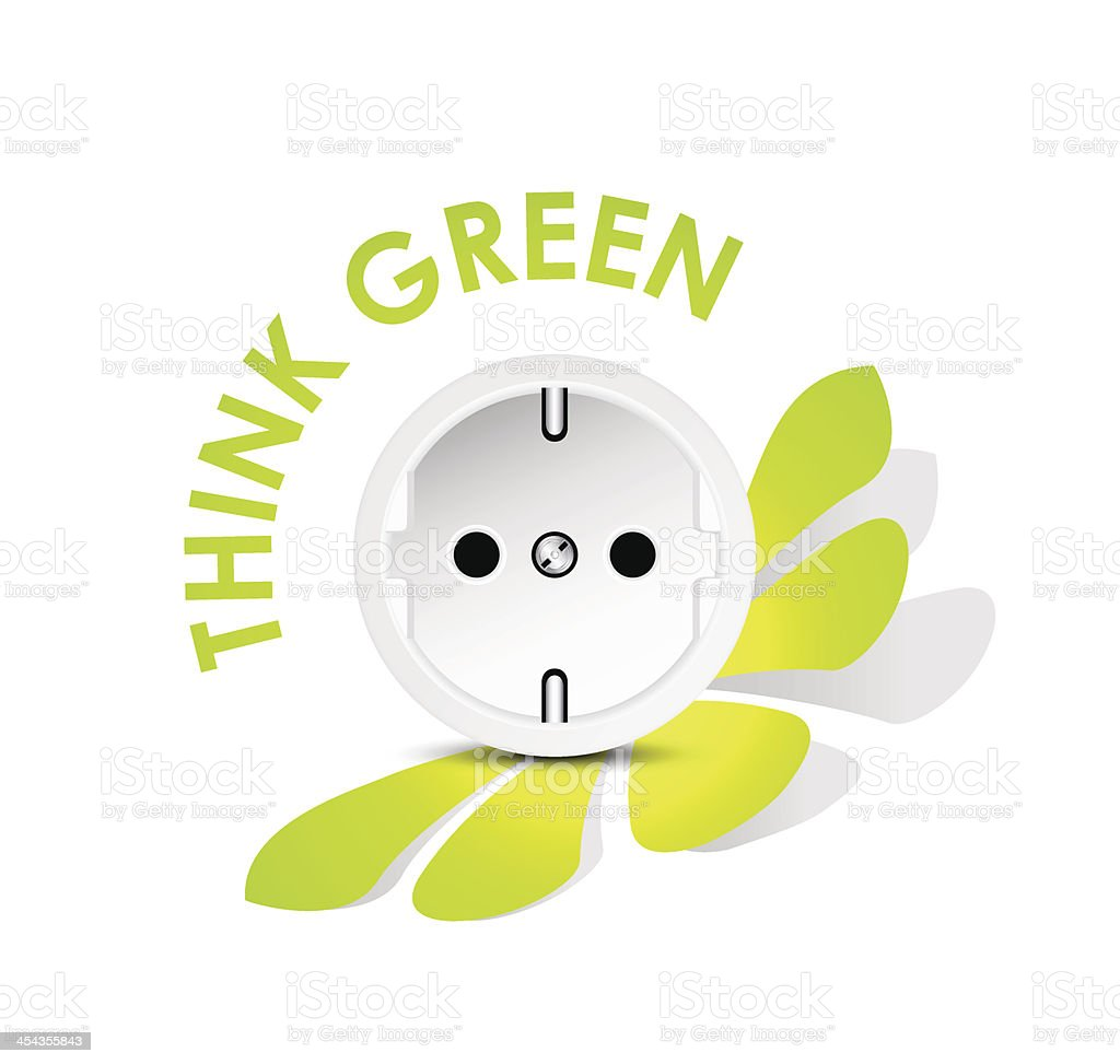 Green energy icon with socket royalty-free stock vector art