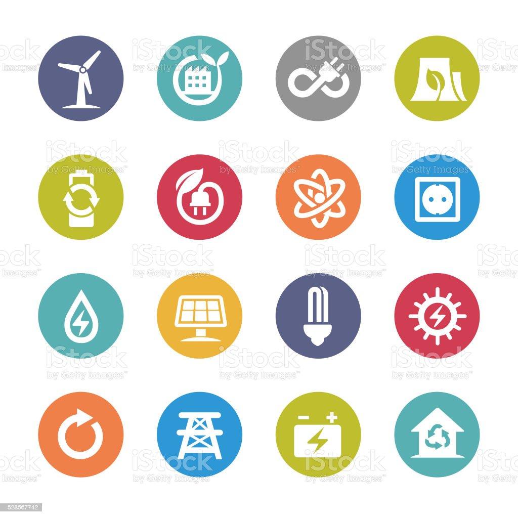 Green Energy Icons - Circle Series vector art illustration