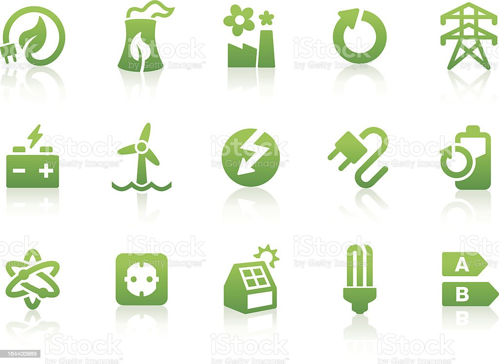 Green energy icons displayed in a white background vector art illustration