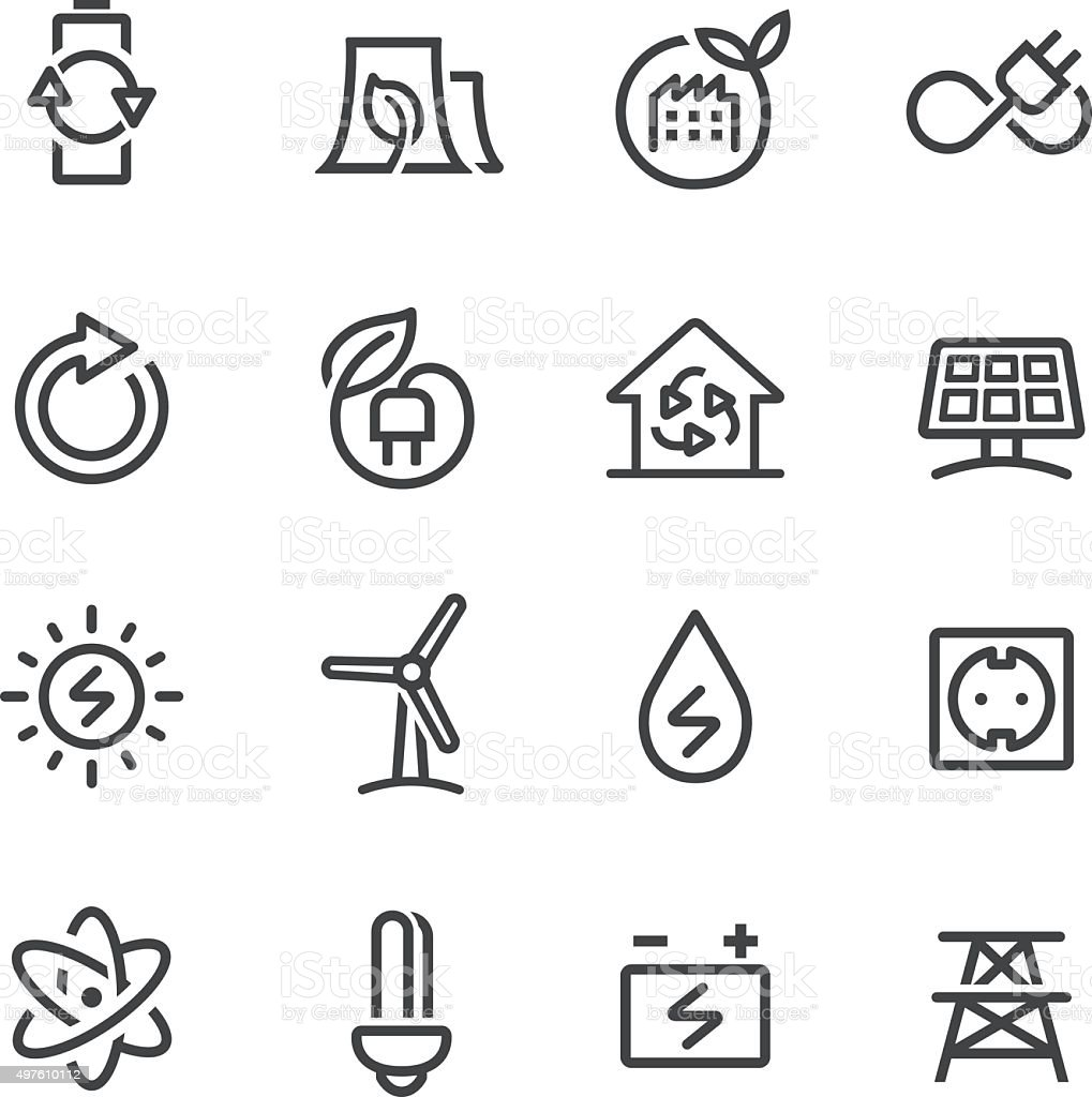 Green Energy Icons - Line Series vector art illustration