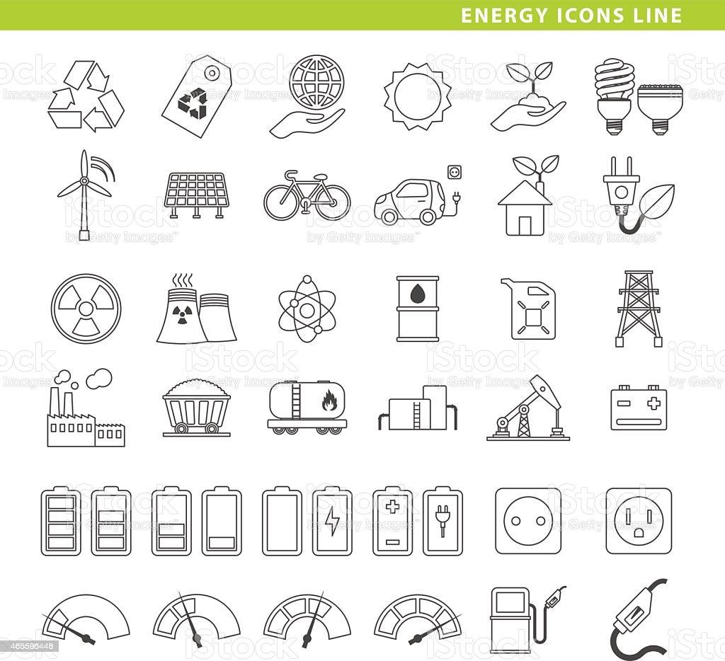 Green energy icons line. vector art illustration