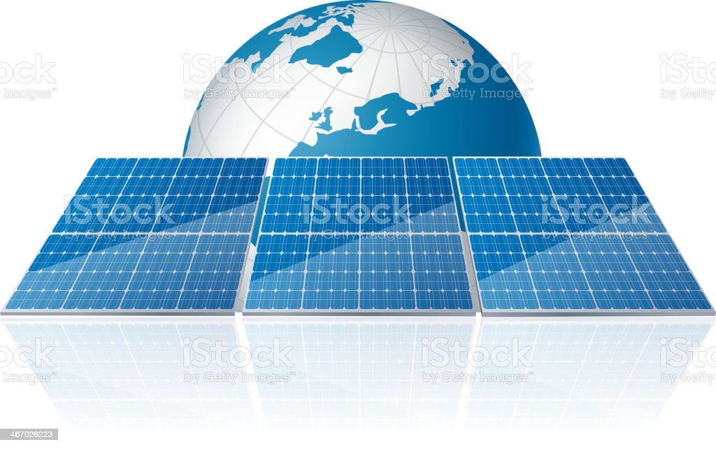 Green energy is used all over the world royalty-free stock vector art