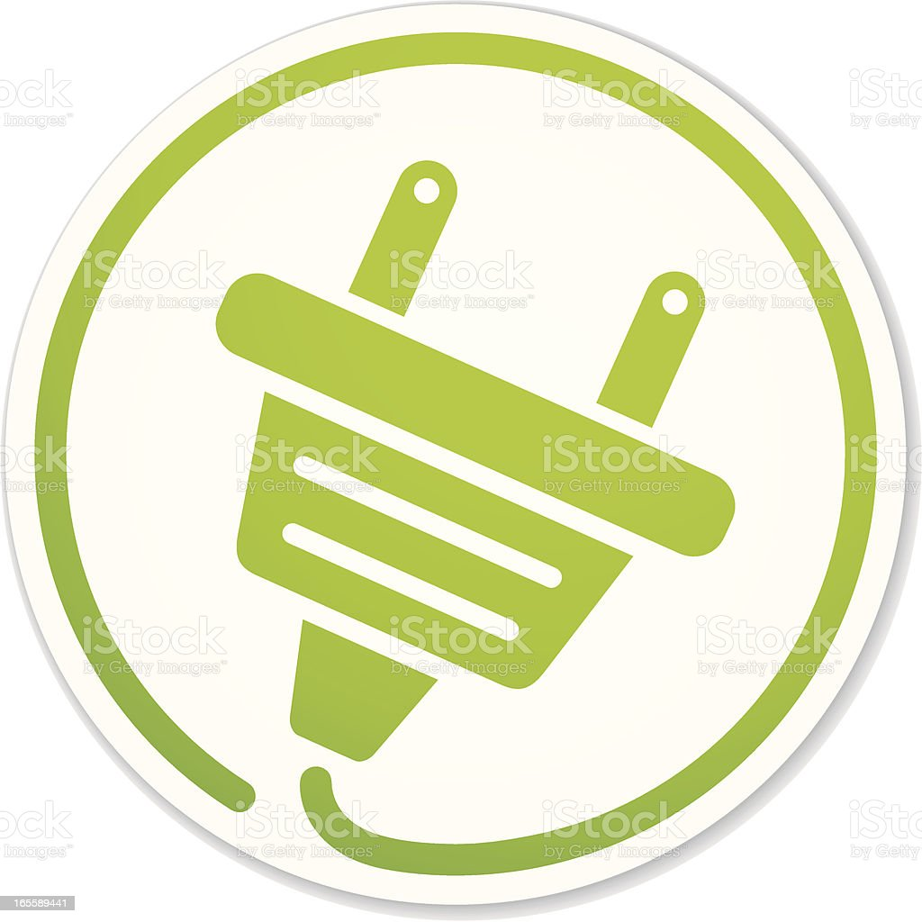 green energy plug round sticker royalty-free stock vector art