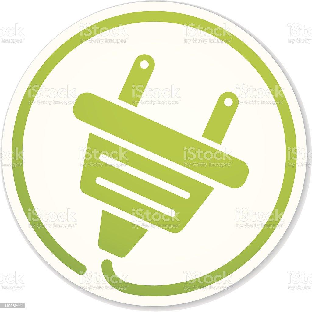 green energy plug round sticker vector art illustration