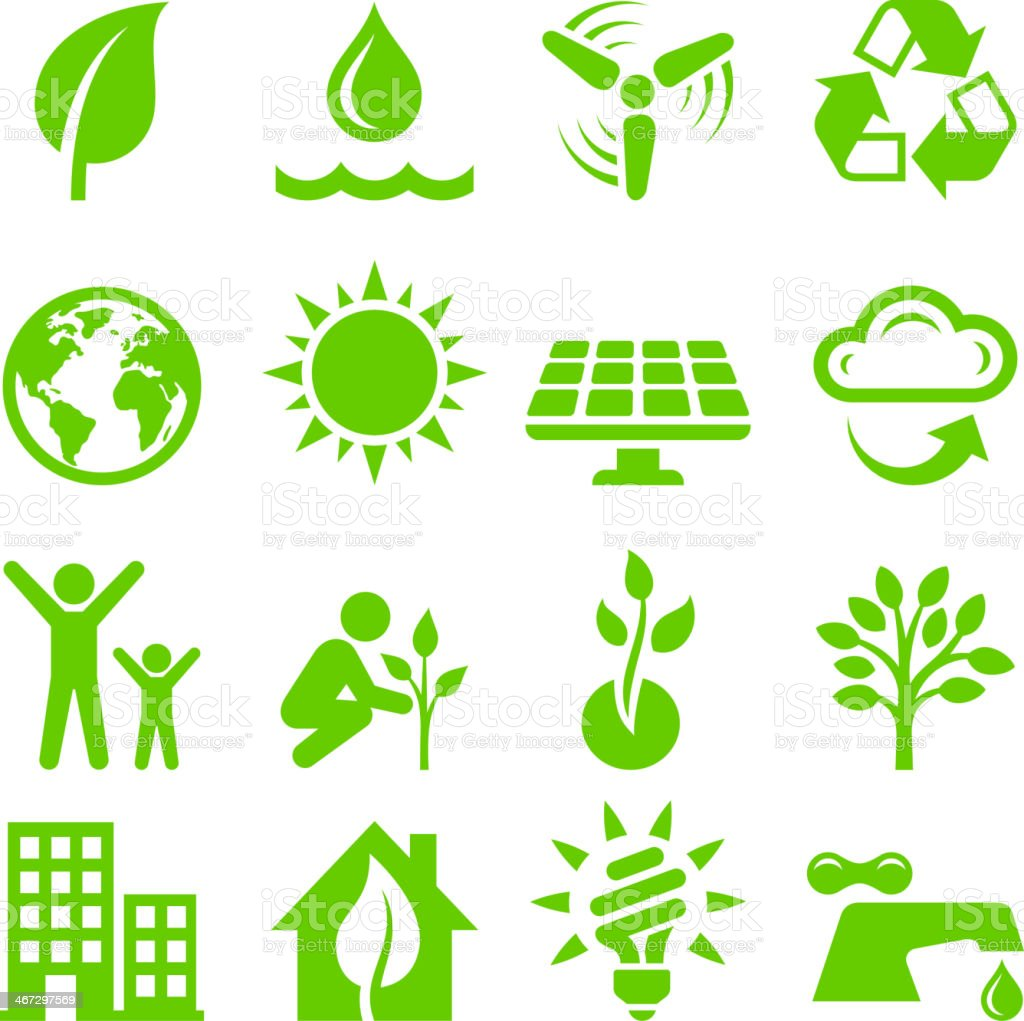 Green Energy royalty free vector interface icon set vector art illustration