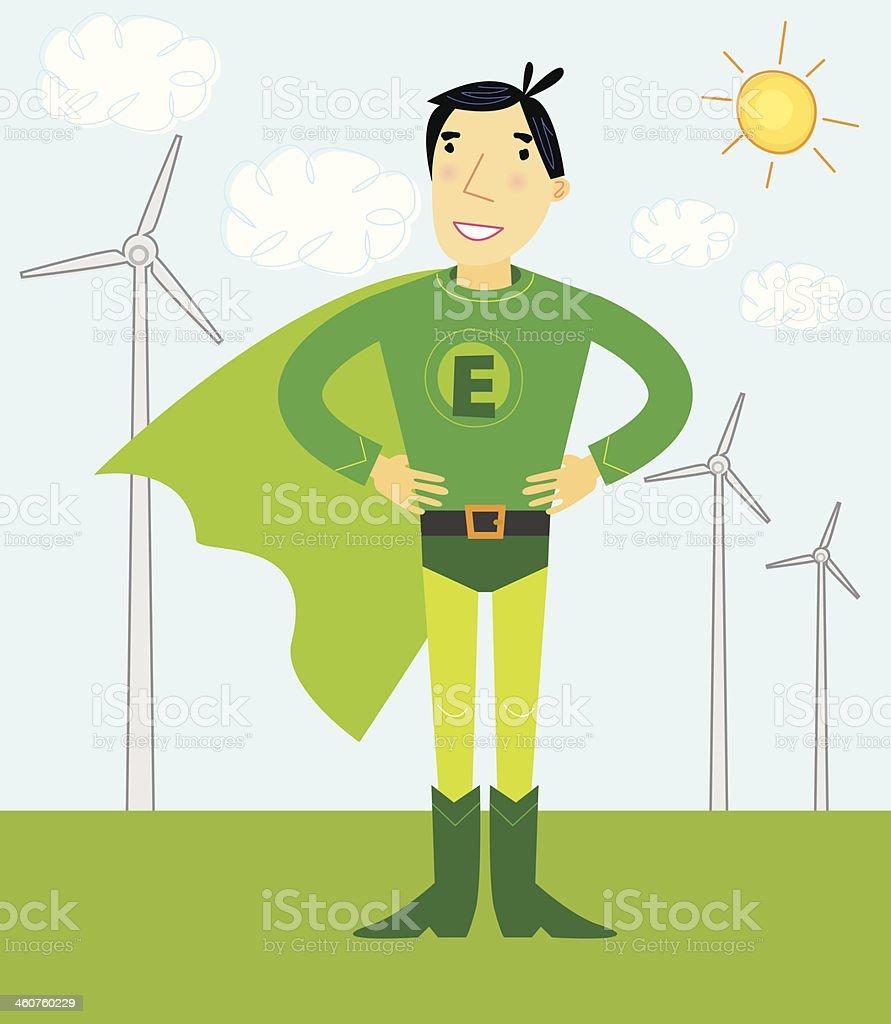 Green Energy Super Hero With Wind Turbines vector art illustration