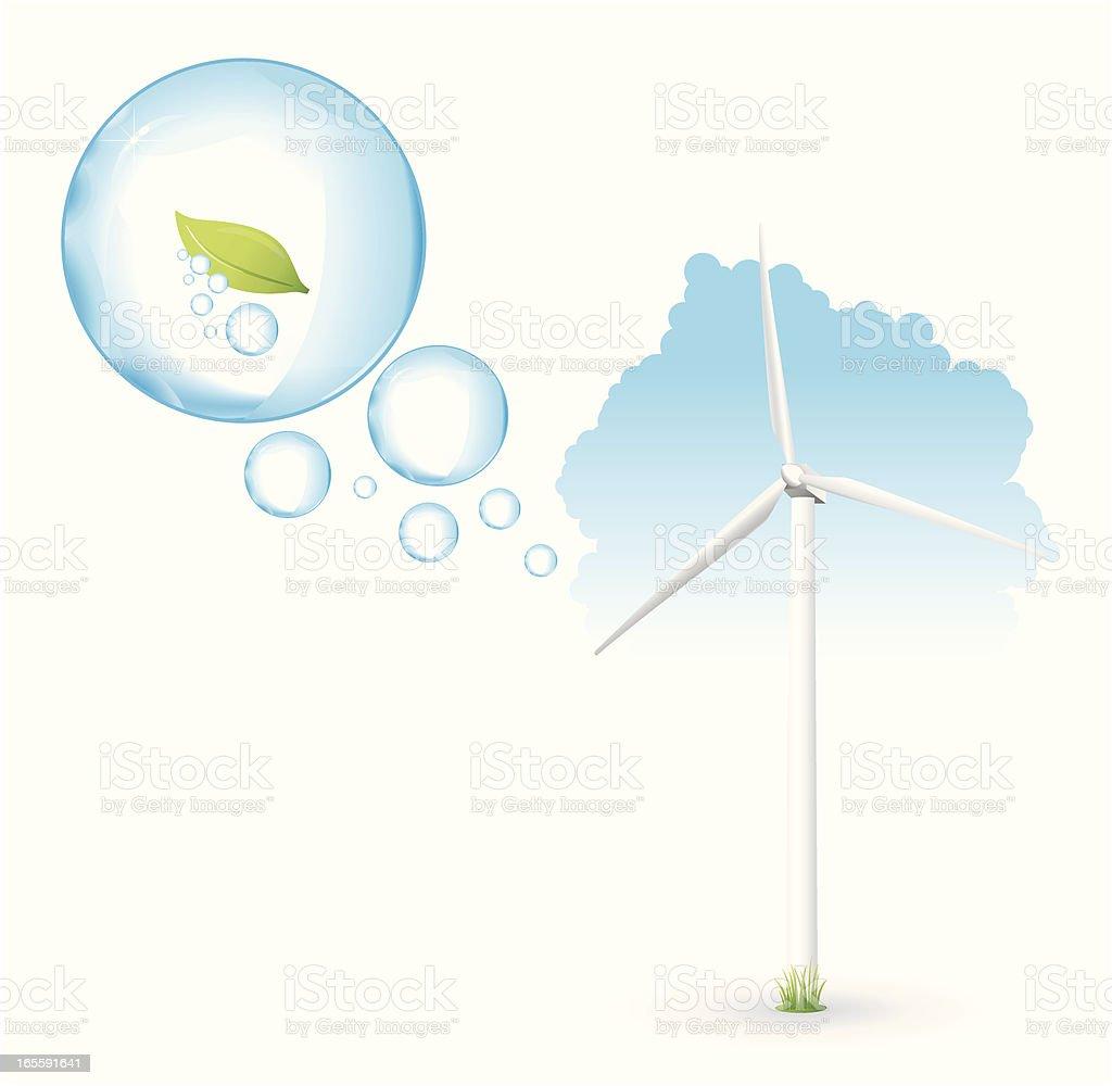 Green energy - wind turbine royalty-free stock vector art