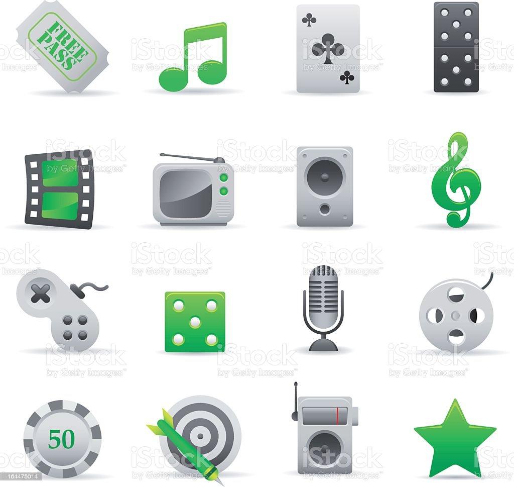 Zielone ikony rozrywka stockowa ilustracja wektorowa royalty-free