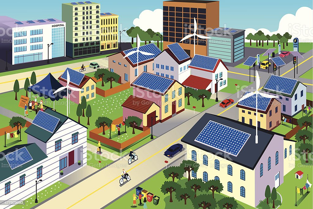 Green environment friendly city scene vector art illustration