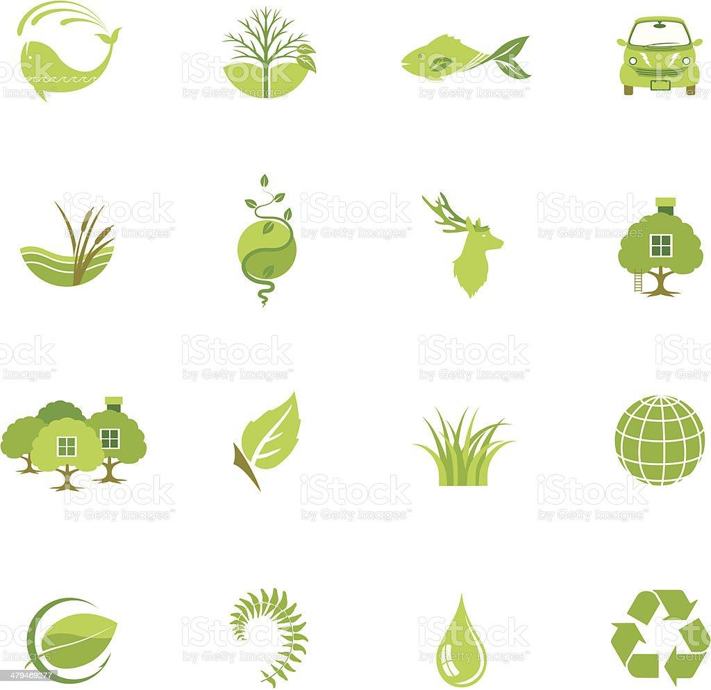 Green Environment Icon Set royalty-free stock vector art