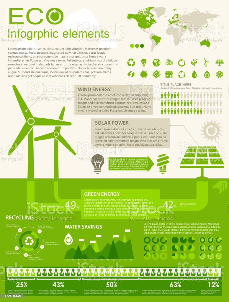 Green environment infographic template royalty-free stock vector art