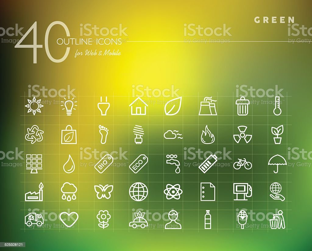 Green environment outline icons set vector art illustration