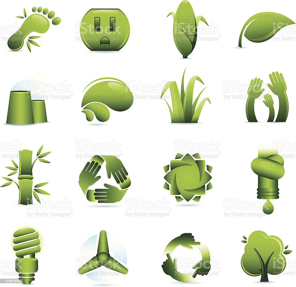 Green Environmental Conservation Icons royalty-free stock vector art