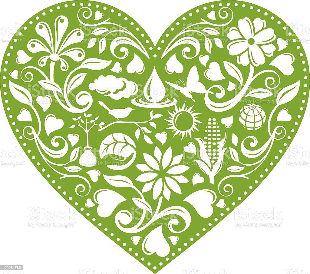 Green Environmental Heart royalty-free stock vector art