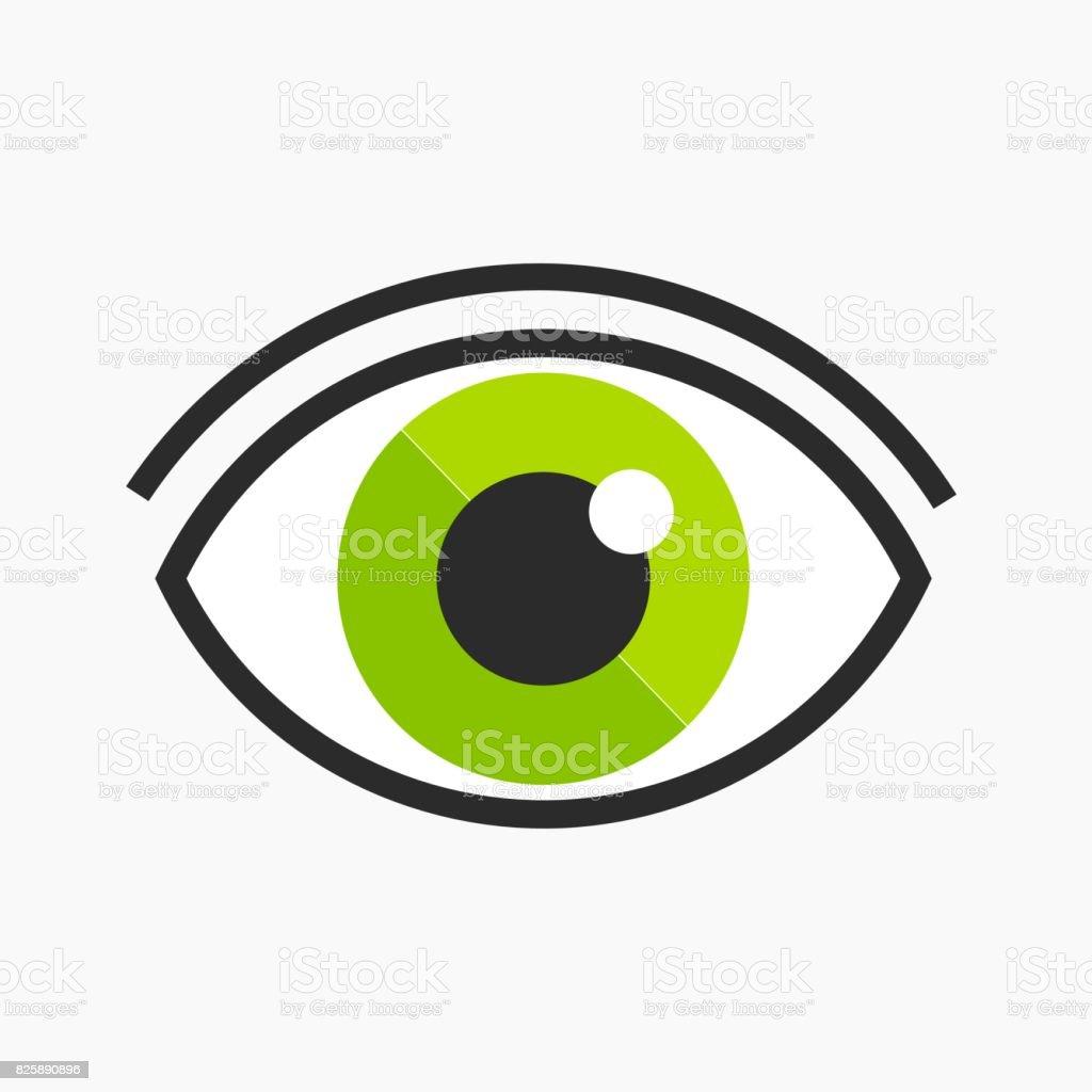 Green eye icon vector art illustration