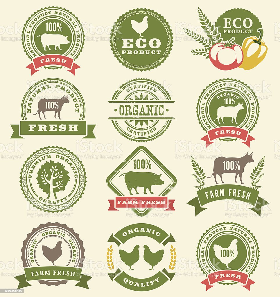 Green farm badge and ribbon icons vector art illustration