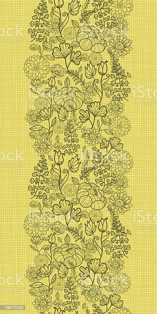 Green Field Fabric Texture Floral Vertical Seamless Pattern royalty-free stock vector art