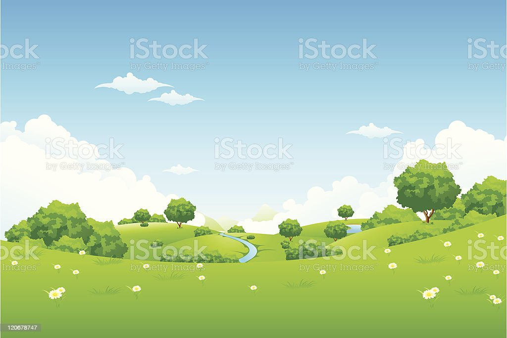 Green field with trees landscape illustration vector art illustration